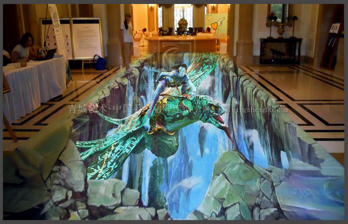 青岛3d地画,青岛地面立体画--华润地产电影主题展