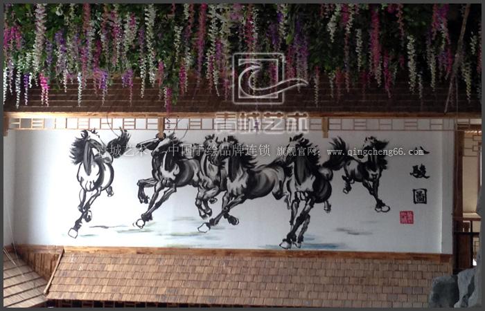 潍坊天禧酒店手绘墙案例
